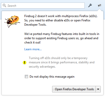 Firebug running in multi-process browser message